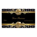 Gold Silver Studs Black Elegant Classy Jewel 2 Business Card Template