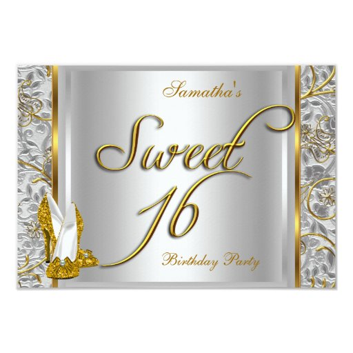 Gold Silver White Sweet Sixteen Sweet 16 Party Card | Zazzle