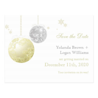 Gold Silver Winter Wedding Save the Date Postcard