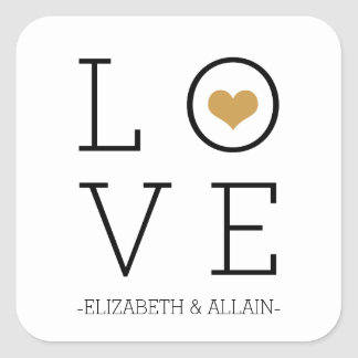 Gold Simple Love Square Sticker