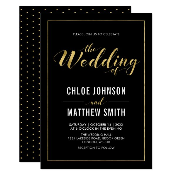 Gold | Simple Modern Typography Wedding Ceremony Card