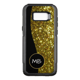 Gold Simulated Glitter Monogram OtterBox Commuter Samsung Galaxy S8+ Case