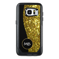 Gold Simulated Glitter Monogram OtterBox Samsung Galaxy S7 Edge Case