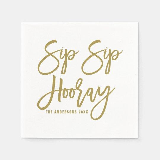 300 Sip Sip Hooray Personalized Printed Wedding Cocktail Napkins