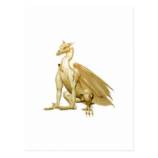 Gold Sitting Dragon Post Card