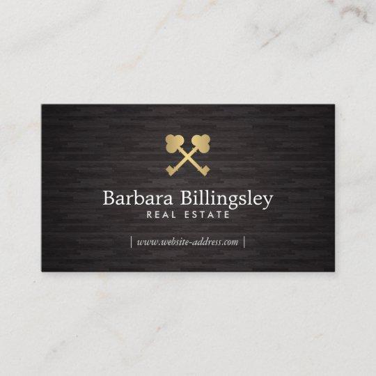 gold skeleton key logo real estate broker wood business card