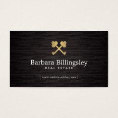 Gold Skeleton Key Logo Real Estate, Broker Wood Business Card at Zazzle