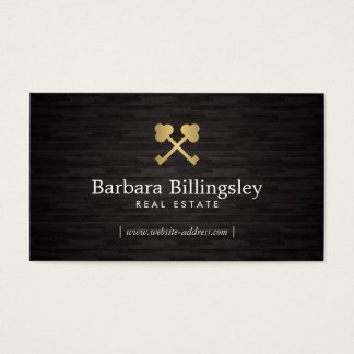 Gold Skeleton Key Logo Real Estate, Broker Wood Business Card
