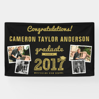 Gold Sketch 2017 Photo Collage Graduation Banner