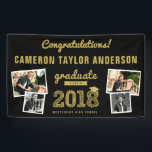 """Gold Sketch 2018 Photo Collage Graduation Banner<br><div class=""""desc"""">Designed by fat*fa*tin. Easy to customize with your own text,  photo or image. For custom requests,  please contact fat*fa*tin directly. Custom charges apply.  www.zazzle.com/collections/graduation_invitations-119988321070623801  www.zazzle.com/collections/graduation_thank_you-119015369615228414  www.zazzle.com/fat_fa_tin www.zazzle.com/color_therapy www.zazzle.com/fatfatin_blue_knot www.zazzle.com/fatfatin_red_knot www.zazzle.com/fatfatin_mini_me www.zazzle.com/fatfatin_box www.zazzle.com/fatfatin_design www.zazzle.com/fatfatin_ink</div>"""