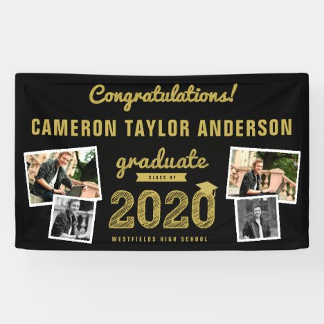 Gold Sketch 2020 Four Photo Collage Graduation Banner