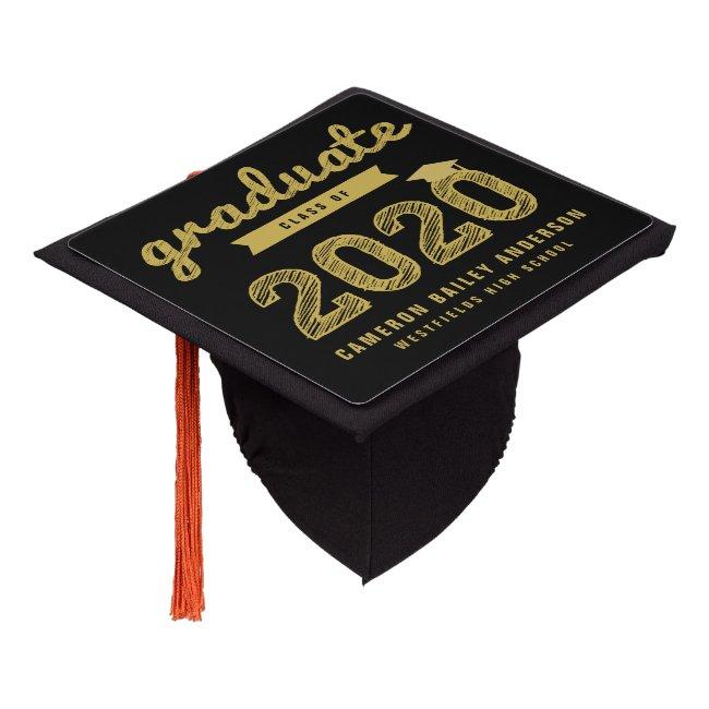 Gold Sketch Typography Grad Class Of 2020 Classic Graduation Cap Topper