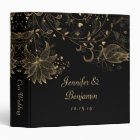Gold Sketched Flowers on Black Photo Album 3 Ring Binder