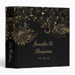 Gold Sketched Flowers on Black Photo Album 3 Ring Binder