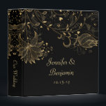 """Gold Sketched Flowers on Black Photo Album 3 Ring Binder<br><div class=""""desc"""">Black Binder with Gold Sketched Flowers. Personalize with your own information. If you need to move the text,  or change the size,  font,  or color,  click Customize It. Please note: This is a flat,  graphic image,  it is not raised</div>"""