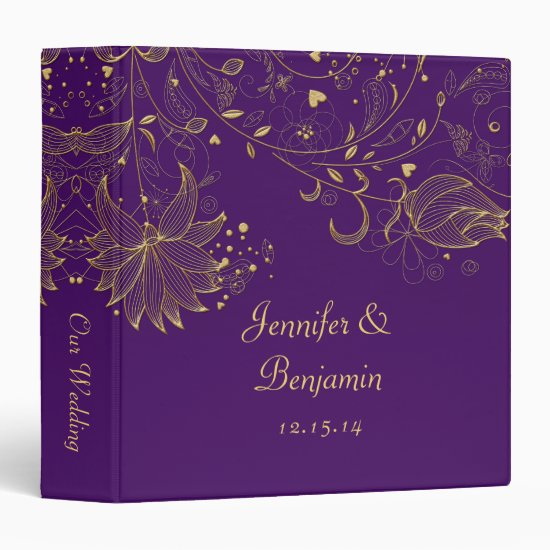 Gold Sketched Flowers on Dark Purple Photo Album 3 Ring Binder