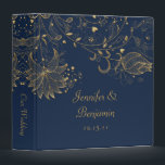 """Gold Sketched Flowers on Navy Wedding Album 3 Ring Binder<br><div class=""""desc"""">Navy Blue Binder with Gold Sketched Flowers. Personalize with your own information. If you need to move the text,  or change the size,  font,  or color,  click Customize It.</div>"""