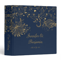 Gold Sketched Flowers on Navy Wedding Album 3 Ring Binder