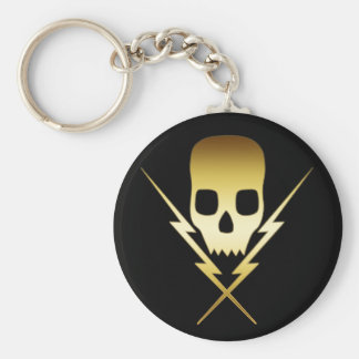 GOLD SKULL AND LIGHTNING BOLTS BASIC ROUND BUTTON KEYCHAIN