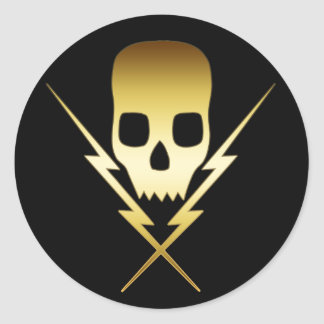 GOLD SKULL AND LIGHTNING BOLTS CLASSIC ROUND STICKER