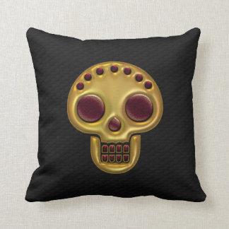 Gold Skull Black Throw Pillow