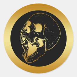 GOLD SKULL CLASSIC ROUND STICKER