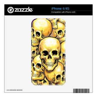 Gold skulls decals for the iPhone 4