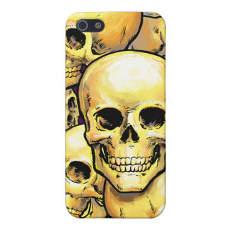 Gold Skulls with custom text area Cases For iPhone 5