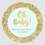 Gold Sky Blue Baby Shower Oh Baby Favor Sticker
