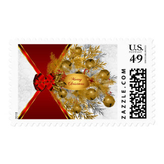 Gold Sleigh Bells Red Bow | Christmas Postage