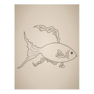 Gold small fish postcard