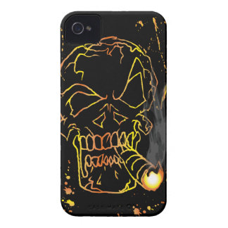 Gold Smiling Skull Smoking iPhone 4 Cover