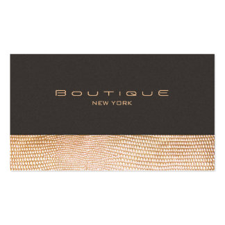 Gold Snake Skin and Suede Fashion Boutique Business Card Template