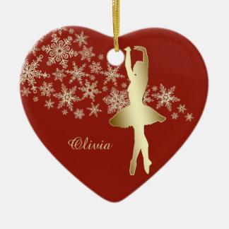 Gold Snowflake Ballerina Red Personalized Ceramic Ornament
