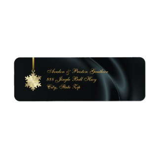 Gold Snowflake Black Silk Holiday Address Labels