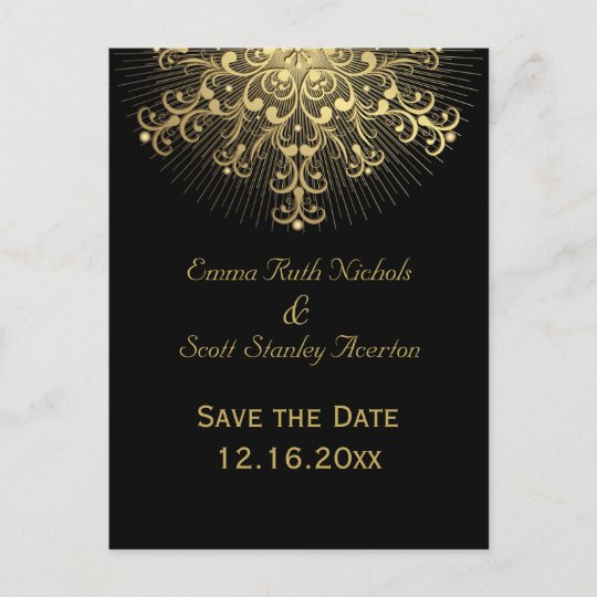 Gold Snowflake Black Winter Wedding Save The Date Announcement Postcard