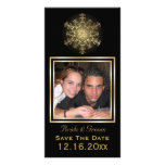 Gold snowflake black winter wedding Save the Date Card