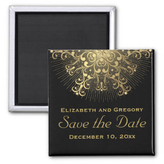 Gold snowflake black winter wedding Save the Date Magnet