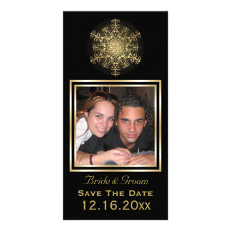 Gold snowflake black winter wedding Save the Date Photo Card
