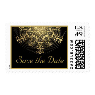 Gold snowflake black winter wedding Save the Date Stamp