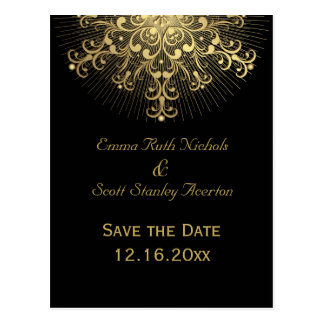 Gold snowflake black winter wedding Save the Date Postcard
