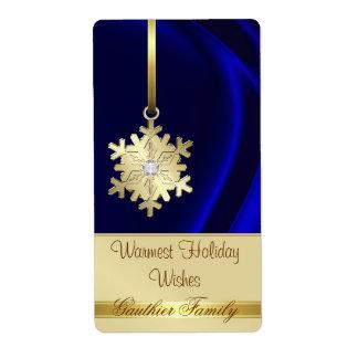 Gold Snowflake Blue Silk Diamond Wine Label Shipping Label