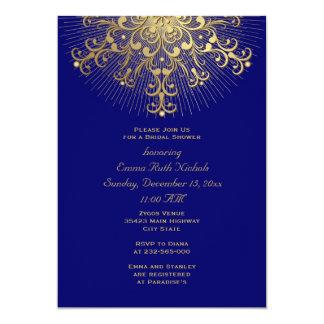 Gold snowflake blue winter wedding bridal shower card