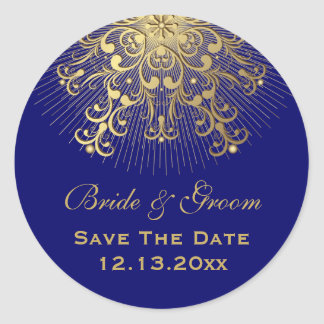Gold snowflake blue winter wedding Save the Date Classic Round Sticker