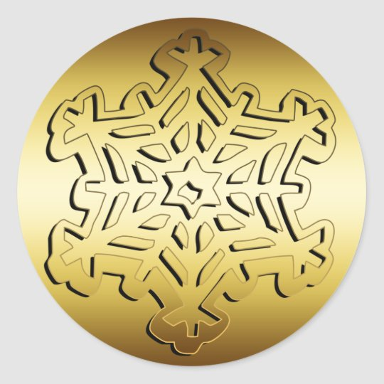 GOLD SNOWFLAKE CLASSIC ROUND STICKER