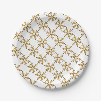 Gold Snowflake Design Paper Plates