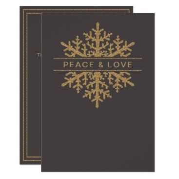 Professional Business Gold Snowflake Elegant Holiday Greeting Card