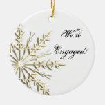 Gold Snowflake Engagement Ornament