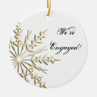 Gold Snowflake Engagement Ornament