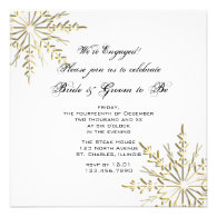 Gold Snowflake Engagement Party Invitation